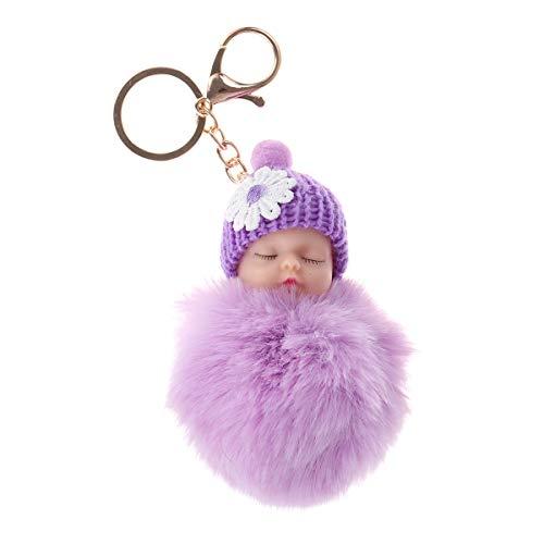 VOSAREA Llavero Diseño del Muñeca Bebé con Pompón de Piel Colorido para Decoración Colgante Bolsa y Coche de Mujer y Chicas (Violeta)