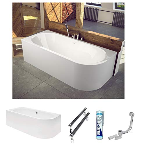 ECOLAM Badewanne Wanne Eckwanne Eckbadewanne für Zwei Modern Design Acryl weiß Avita 160x75 cm LINKS + Schürze Ablaufgarnitur Ab- und Überlauf Automatik Füße Silikon Komplett-Set
