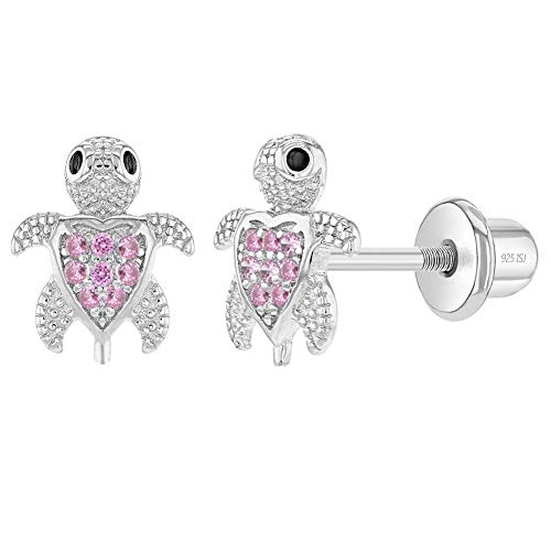 925 Sterling Silver Girl's Pink Cubic Zirconia Screw Back Sea Animal Themed Earrings - Turtle Stud Earrings for Young Girls & Teens - Safety Screw Back Locking for Little Girl's Daily Accessory