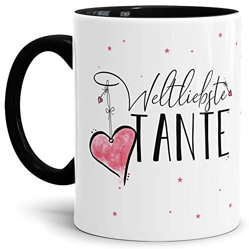 Tasse mit Spruch für die Weltbeste Tante - Kaffeetasse/Familie/Geschenk-Idee/Mug/Cup/Innen & Henkel Schwarz