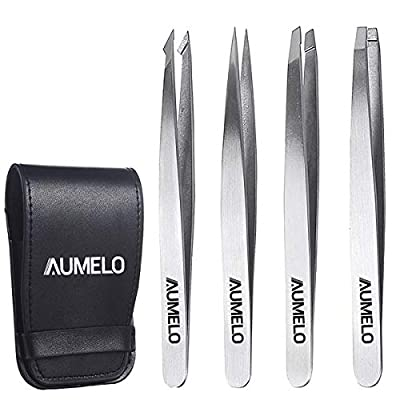Tweezers Set 4-Piece Professional Stainless Steel Tweezers with Travel Case by Aumelo - Best Precision Eyebrow and Splinter Ingrown Hair Removal Tweezer Tip,Silver from AUMELO