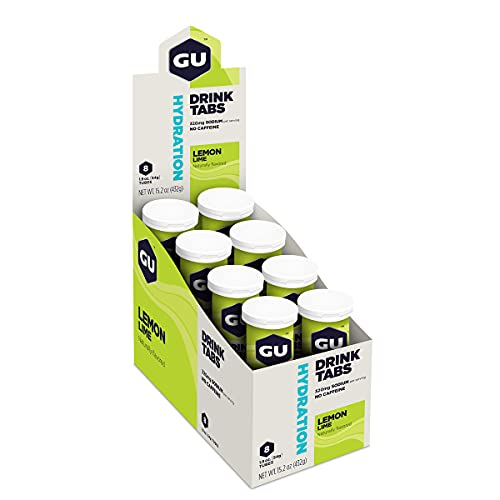 GU Brew Hydratatie Drink Tabs (Elektrolyt-bruistabletten), Citroen (citroen-limoen), 8 stuks