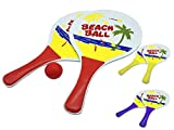 JustRean Toys Beach-Ball Set aus Holz | 2 Schläger 1 Ball im Netz 33 x 19cm Griff blau rot o. gelb...