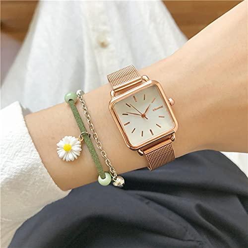 Relojes Relojes Cuadrados De Moda para Mujer, Diseño Minimalista, Reloj con Correa De Malla De Acero Inoxidable, Cuarzo Dorado, Plateado Y Dorado, Blanco Dorado