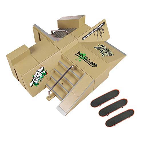 Toyvian Kids Kit de Parque de patinetas para el Dedo Tabla de Dedos rampa Mini Dedo de Skate para niños