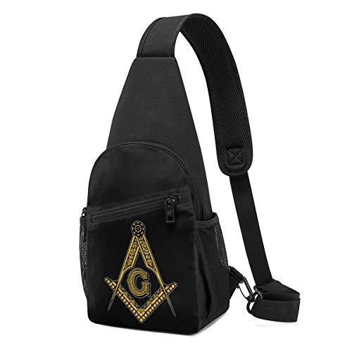 Sling Backpack,Travel Hiking Daypack Pattern Rope Crossbody Shoulder Bag Masonic Symbol Printed
