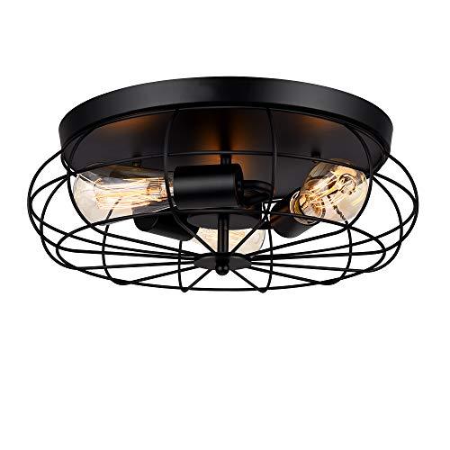 Lámpara de techo STASUN, lámpara de techo industrial de 16 pulgadas y 3 luces con jaula de metal, adecuada para cocina, comedor, sala de estar, dormitorio, baño, escalera