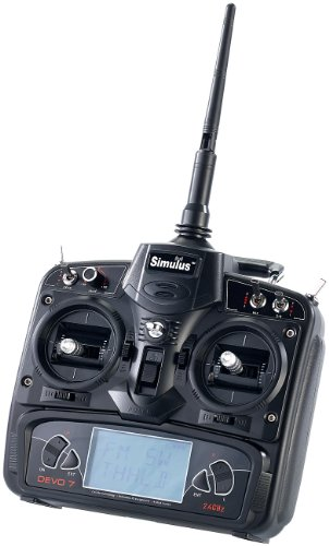 Simulus Zubehör zu Drohnen Fernsteuerung: Funk-Fernsteuerung DEVO-7 für Quadrocopter und RC-Fahrzeuge (Drohne mit Liveübertragung)