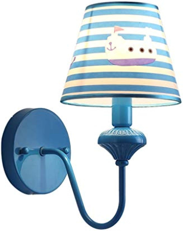 Wandleuchten Wandleuchte Cartoon Stoff Kinder Schlafzimmer Lampe Schlafzimmer Wohnzimmer Restaurant Vintage Nachttischlampe Wandleuchte Eisen Kunst