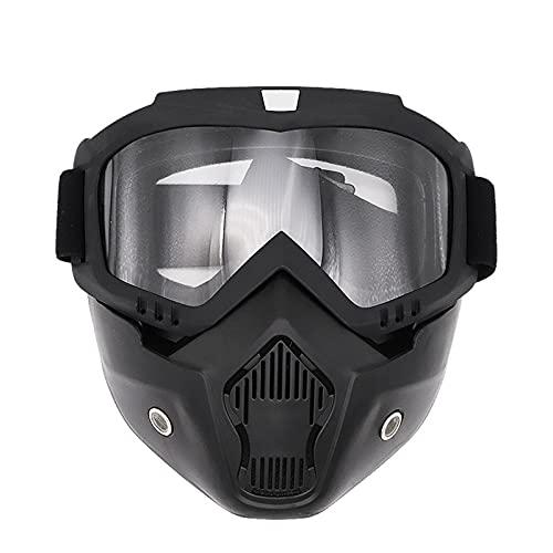 Gkotta Máscara de Airsoft Gafas de Motocicleta Máscara Facial Desmontable Gafas de Moto extraíbles Máscara de Casco Deportivo de esquí Carreras de Motos(Black/Clear Lens)