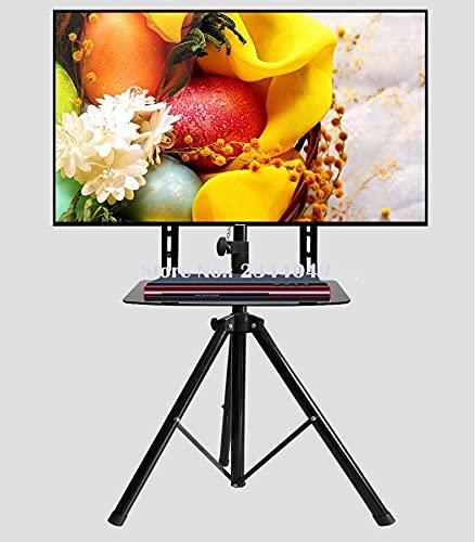 LIXUDECO Mueble de TV giratorio de 360 grados 32 ~ 55 pulgadas TV soporte trípode con soporte de DVD VESA 100 ~ 500 mm carga 50 kg altura ajustable TV piso soporte muebles