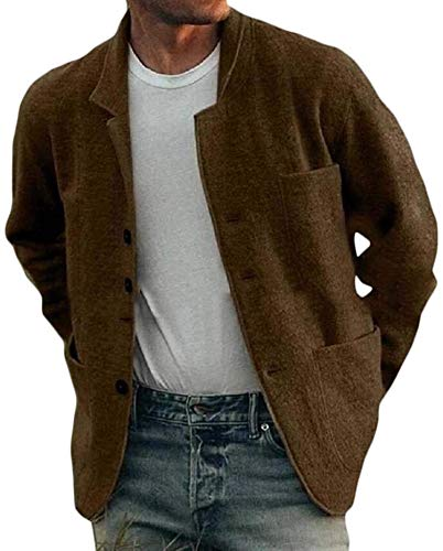 Mens Woolen Coat Button Down Lapel Collar Casual Overcoat Jackets with Pockets,Gamel,L