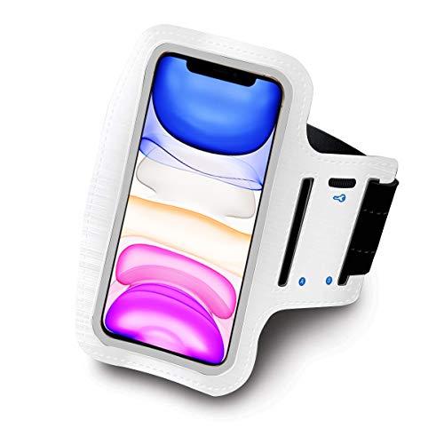 Sovica Sportarmband kompatibel mit BQ Aquaris U Running Sport Armband Neopren Einstellbar Klettverschluss Anti-Schweiß rutschfest Tasche für Schlüssel Kopfhörer (Weiß)