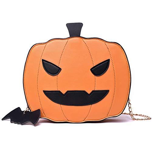 Reuvv Damen Umhängetasche Kürbis Handtasche Halloween Candy Bag Little Devil Schultertasche Kuriertasche, Polyurethan, braun, Größe S