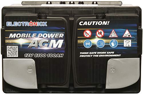 Electronicx Bateria Solar Coche AGM 100Ah 12V Bateria de Arranque de Gel MOBILE EDITION Caravana Autocaravana Camper…