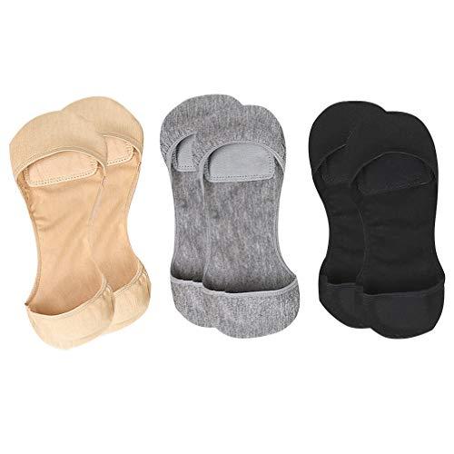 Healifty 3 Stück Damen Unsichtbare Socken Anti-Slip-Liner Socken Atmungsaktive Liner Toe Versteckte Socke mit Silikon Gepolstert für Damen