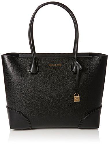 Large Black Leather Michael Kors Tote Bag Gold Padlock Hardware Twin Handle Straps Gold Michael Kors Lettering Zip Closure