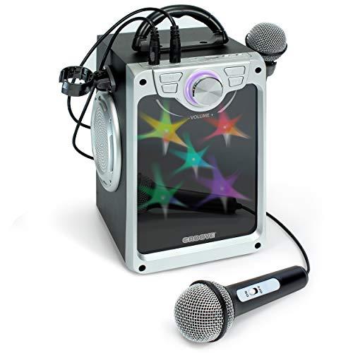 Croove Pop Box Karaoke-Maschine für Kinder mit 2 Mikrofonen und blinkenden Disco-Lichtern (schwarz)