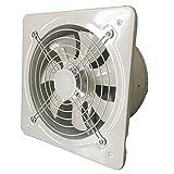 Ventilador de Baño Ventilación industrial extractor de metal axial de escape axial ventilador de aire ventilador con rejilla y válvula de retención bajo ruido en funcionamiento estable, blanco Ventila