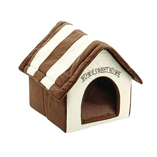 Cama para gatos y perros con forma de casa marrón, lavable y resistente al desgaste, color blanco, sofá desmontable y resistente al desgaste, material de fibra sintética antideslizante para mascotas de otoño e invierno, cálida cama de dormir para gatos y perros
