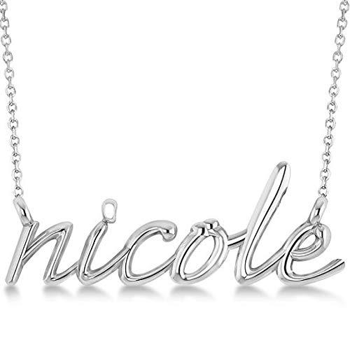 Script personalizzato Nome pendente Collana in oro bianco massiccio 14k, pendente personalizzato