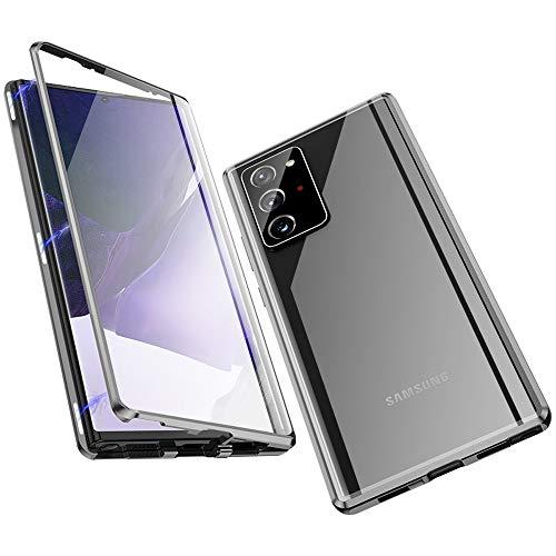 Jonwelsy Cover per Samsung Galaxy Note 20 Ultra, Adsorbimento Magnetico Paraurti in Metallo con 360 Gradi Protezione Case Doppi Lati Trasparente Vetro Temperato Flip Custodia per Note 20U (Grigio)