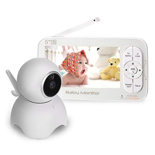 Babyphone mit Kamera,DCEMAY 5 zoll LCD Baby Monitor,HD Temperature und Akustischer Alarm, 720P Video,Nachtsicht, Schlafied,ohne Wlan,2 Wege Audio,bis zu 300m Reichweite
