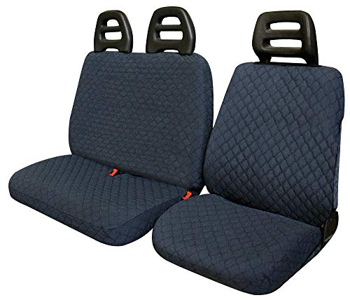 2 Premium Van Seat Covers Single Drivers And Double Passengers Seat Covers Black Quilted Diamond Leather Rhinos-Autostyling FOR MERCEDES VITO 2008 1