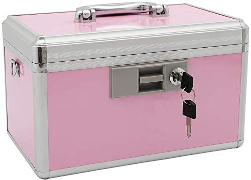 "xydstay Medicine Lock Box,First Aid Safe Medication Storage Box,Layered Aluminum Daily Medicine Cabinet Family Use,12.2"" x 7.9"" x 8.2"", Pink"