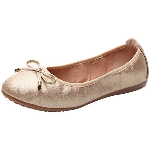 rismart Mujer Baile Ponerse Plano Bowknot Elegante Suave Bailarinas Zapatos SN02829(Dorado,EU39)