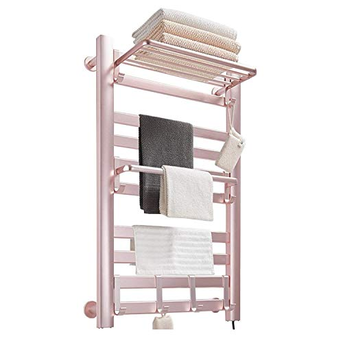 LHZHG Toallero Eléctrico Bajo Consumo 160W, Towel Heater Rail Toalla Calentador eléctrico, Calentador Secador Térmico de Toallas, Radiador Toallero de Pared (Color : Pink)