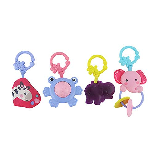 Replacement Parts for Kick 'n Play Gym - Fisher-Price Kick 'n Play Piano Gym BMH48 ~ Pink Version ~ Includes 4 Toys with Links ~ Pink Elephant, Purple Frog, Pink Zebra Crinkle and Purple Hippo Teether