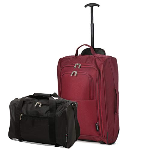 5 Cities Set of 2 Hand Luggage Set Including Ryanair Cabin Approved 55x40x20cm Trolley Bag & 40x20x25 Ryanair Maximum Holdall Under Seat Flight Bag (Wine + Black)