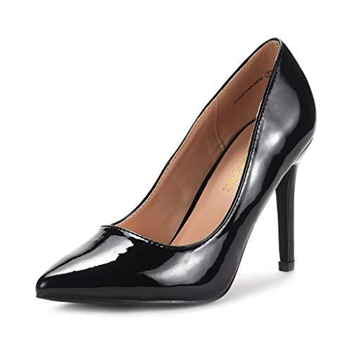 DREAM PAIRS Women's Black Pat High Heel Pump Shoes - 5.5 M US