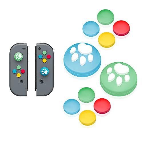 【Nintendo Switch 対応】アナログスティックカバー+方向キーキャップ JoyCon専用方向キーカバー スティック保護カバー 猫 肉球 アシストキャップ 方向キーカバー 10個セット どうぶつの森(ブルー/グリーンB)