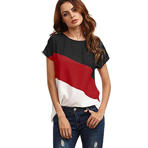 MRULIC Damen Kurzarm T-Shirt Rundhals Ausschnitt Lose Hemd Pullover Sweatshirt Oberteil Tops (EU-38/CN-M, Rot2)