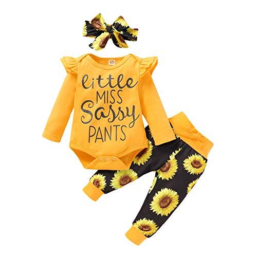 Geagodelia - Conjunto de ropa para bebé recién nacido, camiseta de manga larga + pantalón impreso + diadema Imprimé Tournesol 2 3- 6 Meses