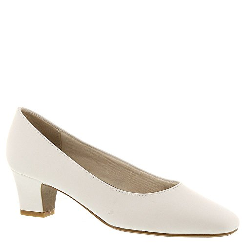 LifeStride Womens Jade Leather Square Toe Classic Pumps, White, Size 7.0