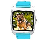 TAPORT® Reloj de cuarzo con correa de cuero azul cuadrado con pastor alemán