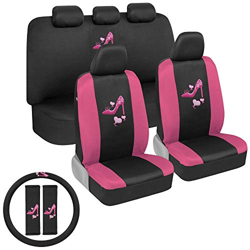 BDK Two-Tone Pink Heels Car Seat Covers Full Set with Steering Wheel Cover and Seat Belt Pads – Front and Rear Covers with Matching Embroidered Accessories, Universal Fit for Cars Trucks Vans SUVs Arizona