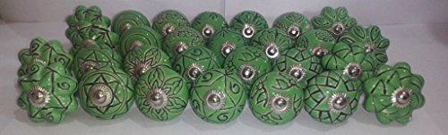 Knobsworld - 20 pomelli in ceramica effetto vinatge a forma di fiore, in ceramica, per porte, armadietti, cassetti, maniglie e cassetti (verde)