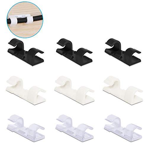 FineGood Kabel-Clips aus Kunststoff, mit Klebeband, für Zuhause und Büro, 3 Farben, 120 Stück