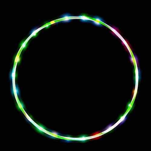 DASINKO 24in LED Hulas Hoop Dance Exercise Light Up Hoola Hoop for Kids Adults Fitness Weight Loss Color Strobing Changing Glow Lights 60cm 24 in Hulas HoopTwo AA Battery are Needed Not Included