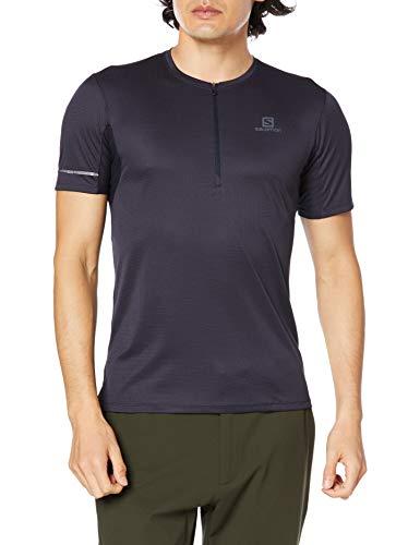 SALOMON Agile T-Shirt Respirant Avc Fermeture Eclair Homme Trail Running Randonnée