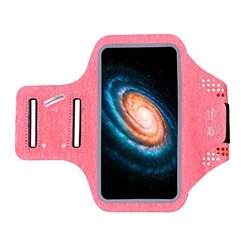 YOYIK Brazalete de running rosa para iPhone 11/11 Pro/XS/XR/X/8 Plus con soporte de teléfono deportivo sensible al tacto y ranura de cremallera a prueba de sudor