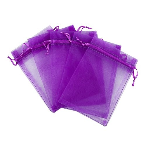 Anleolife 4x6 Purple Organza Bags/Jewelry Pouch Bags/Organza Velvet Drawstring Pouches Wedding Favors Candy Gift Bags 100pcs 10*15cm(deep purple)