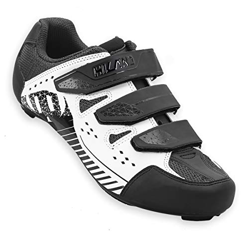 Hiland EU41 Road Bike Cycling Shoes Lock Pedal Bike Shoes Cleated Bicycle Ciclismo Shoes Compatible with SPD Cleats Black White
