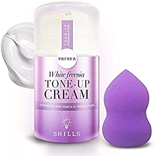 SHILLS Moisturizing Invisible Foundation Primer for Acne Prone Skin, Pore Eraser, Makeup Base, Tone Up Cream with Sponge Applicator