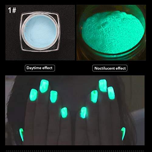 aiyvi Neon Farben Glitzerpuder Nagellack-Pulver Gradienten Glitter Nail Art,Im Dunkeln leuchten Lumineszenzpigment (A)