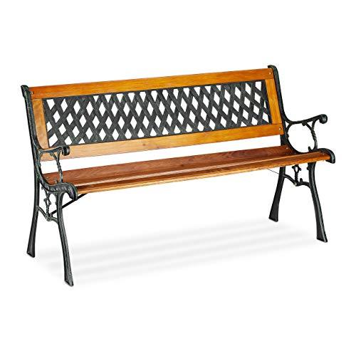 Relaxdays Gartenbank, 2-Sitzer, dekorative Rückenlehne, Gusseisen, Holzstreben, Parkbank, HxBxT 73 x 125 x 52 cm, natur